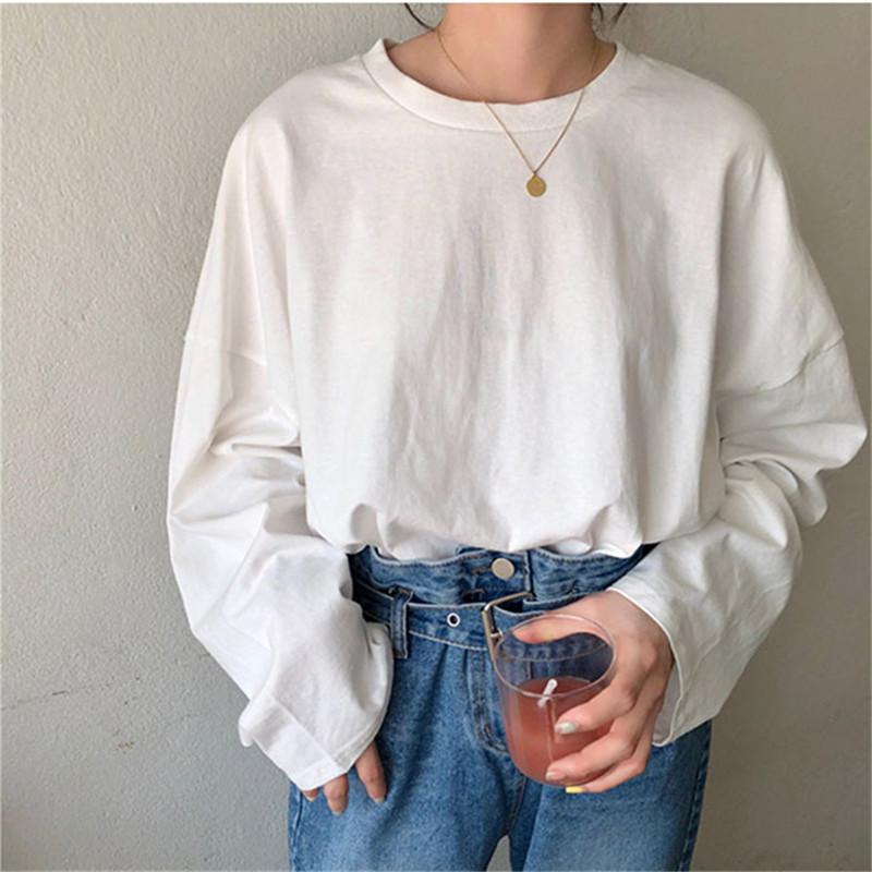 無地 長袖 シンプル カジュアル 春夏 ラウンドネック プルオーバー Tシャツ 体型カバー ゆったり 定番 ベーシック