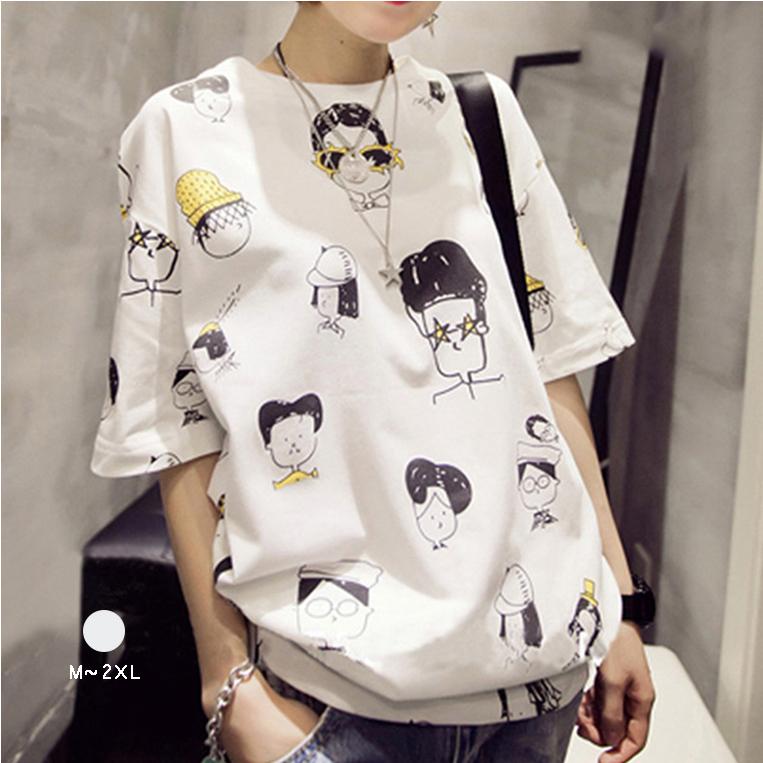 大人気 可愛いプリント 半袖 ファッション 夏 ラウンドネック プルオーバー Tシャツ