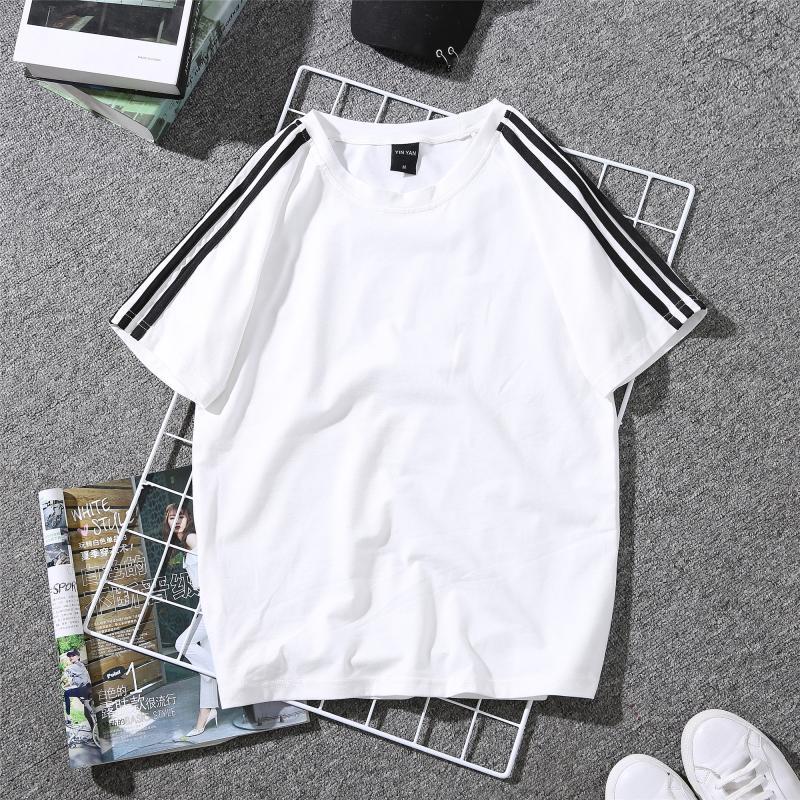 ストライプ柄ポリエステル半袖シンプル一般切り替え一般夏ラウンドネックプルオーバーTシャツ