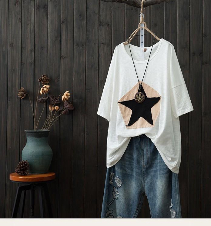 無地中袖/五分袖カジュアル切り替え夏ラウンドネックプルオーバーTシャツ