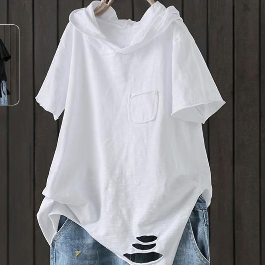 無地 半袖 シンプル カジュアル スリット 夏 フード付き プルオーバー Tシャツ