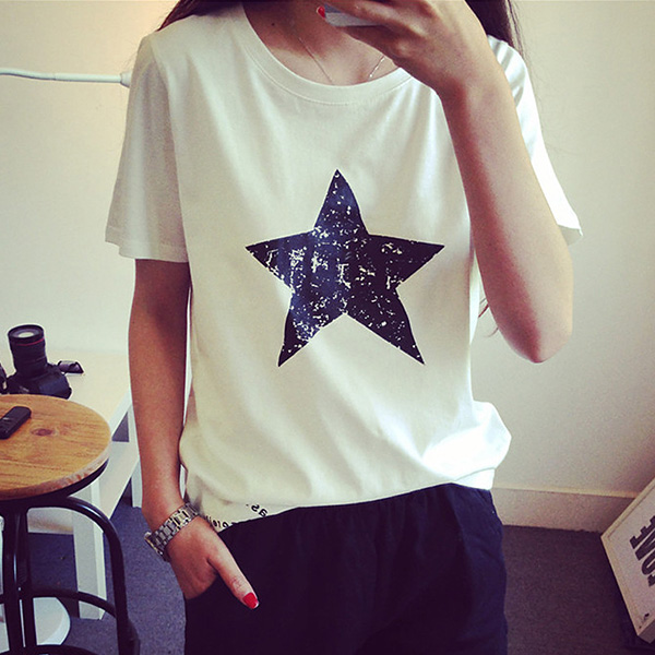 幾何模様 コットン 半袖 シンプル プリント 夏 ラウンドネック プルオーバー Tシャツ ブラウス 体型カバー ゆったり 星 無地