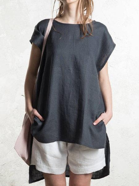 ゆったり無地綿麻半袖シンプルカジュアル夏ラウンドネックプルオーバーTシャツ