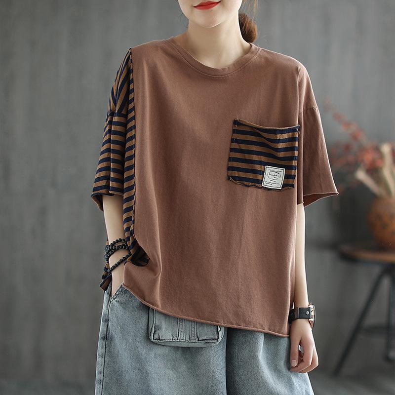 ストライプ柄  半袖 ボーダーTシャツ カジュアル 夏 ラウンドネック プルオーバー Tシャツ