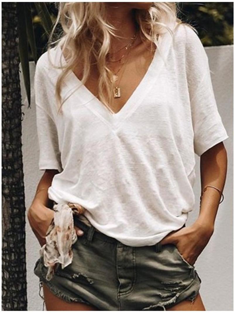 無地半袖シンプルファッション一般なし一般夏Vネックプルオーバーシャツ・ブラウス