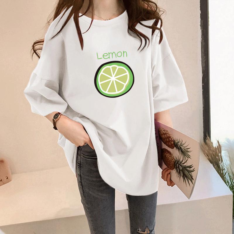 プリント半袖カジュアル韓国系一般なしロング夏ラウンドネックプルオーバーTシャツ