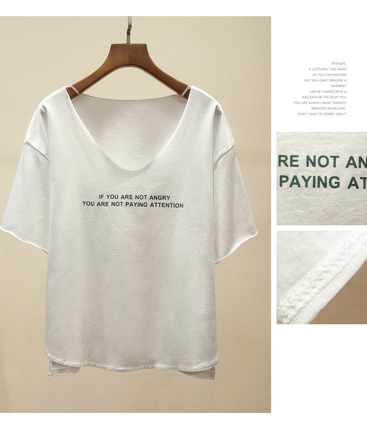 アルファベットコットン半袖セクシーフェミニン一般切り替え一般夏VネックプルオーバーパープルホワイトブラックTシャツ