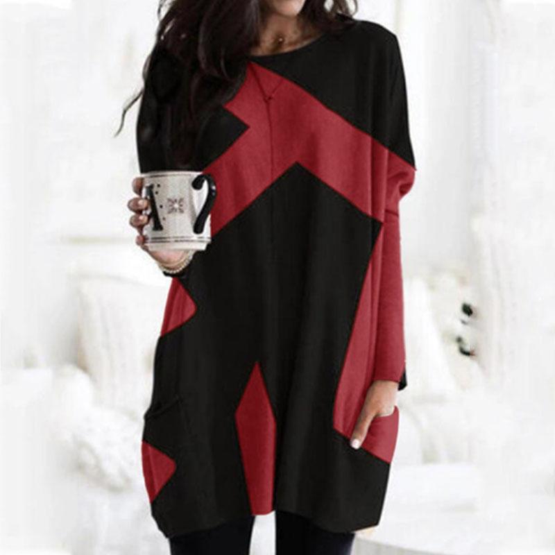 配色長袖ファッションカジュアル一般切り替え一般春秋冬ラウンドネックプルオーバーTシャツ