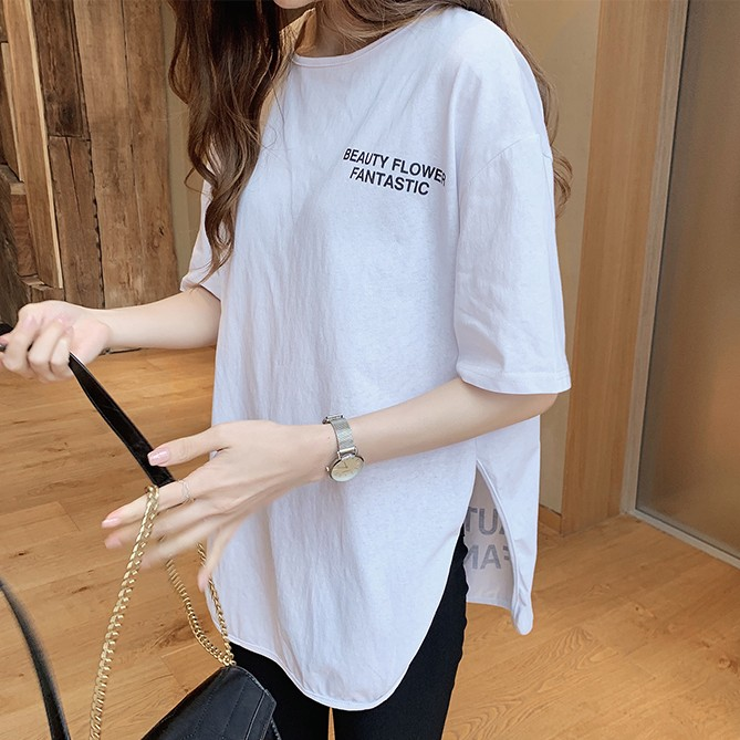 アルファベット 半袖 カジュアル スリット 膝上 夏 ラウンドネック プルオーバー Tシャツ 大人可愛い かわいい ブラウス 体型カバー ゆったり