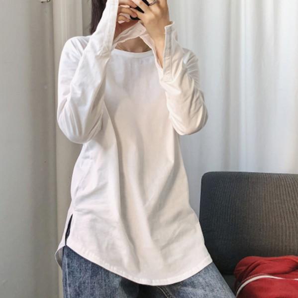 無地 長袖 シンプル ボタン ロング 春夏秋 ラウンドネック プルオーバー Tシャツ ブラウス デザイン 体型カバー ゆったり チュニック スリット入り ファッション