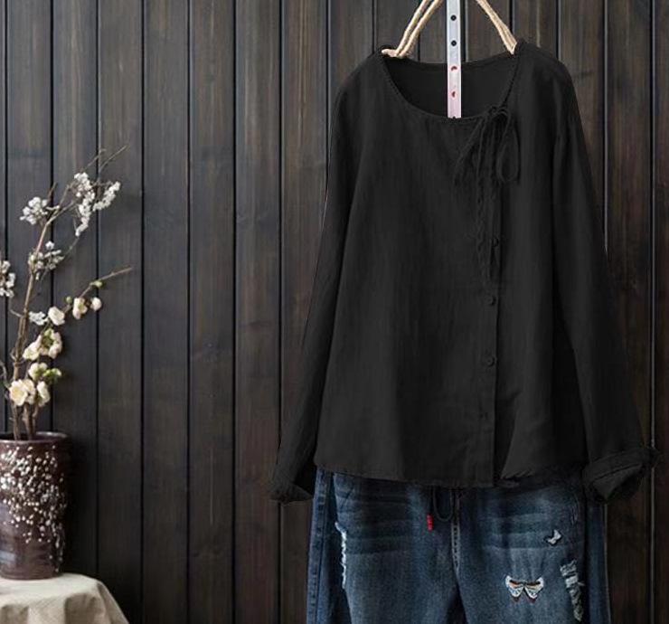 大きいサイズ 無地 長袖 シンプル ボウタイ 春夏 ラウンドネック プルオーバー Tシャツ 体型カバー ゆったり 快適 爽やか 森ガール トップス 上着