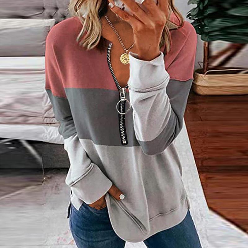 配色長袖シンプルファッションカジュアル切り替えファスナー春秋ラウンドネックプルオーバーTシャツ