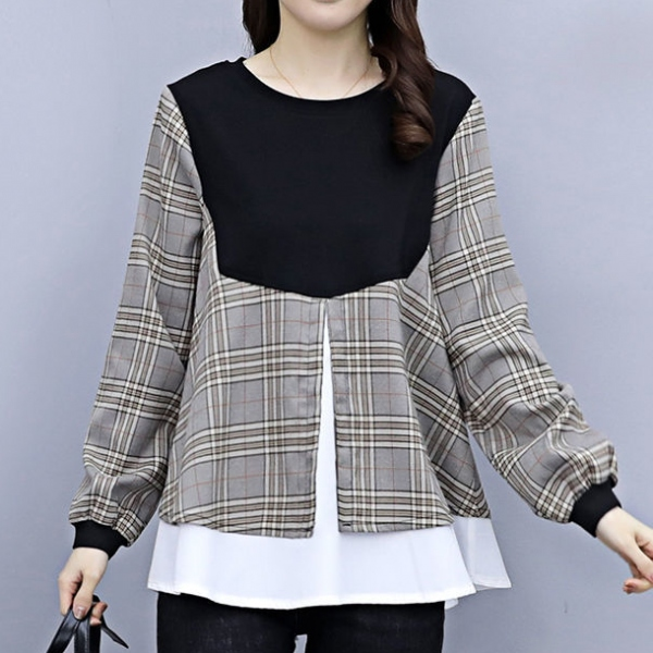 チェック柄配色長袖シンプル切り替え春秋ラウンドネックプルオーバーTシャツ