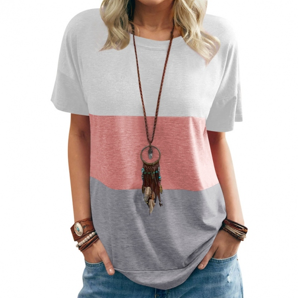 ゆったり お出かけ 上品 配色 半袖 カジュアル 春 夏 ラウンドネック プルオーバー 上着 Tシャツ