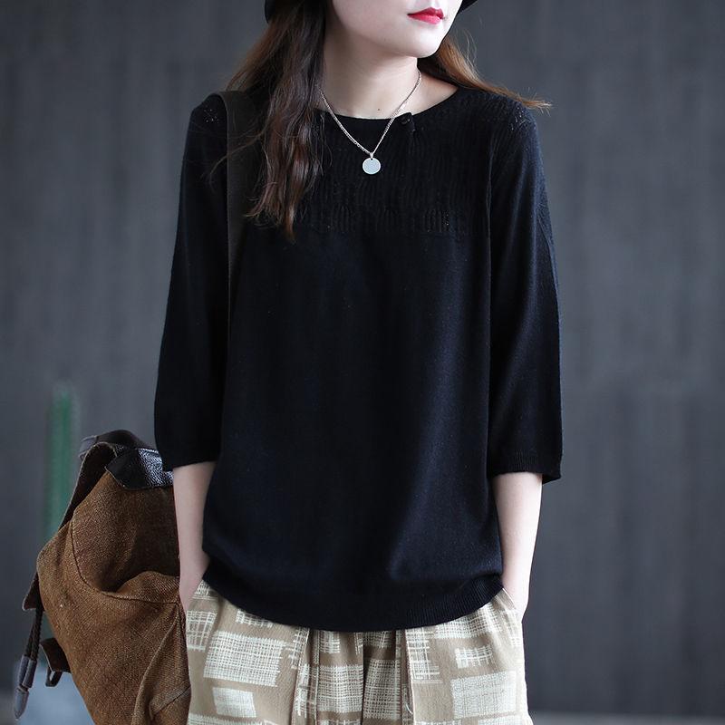 オーバーサイズ 無地 七分袖 定番 ファッション 薄手 春 秋 ラウンドネック プルオーバー 体型カバー Tシャツ