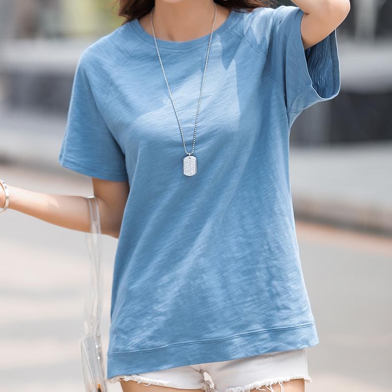 無地半袖シンプル一般スリット一般夏ラウンドネックプルオーバーTシャツ