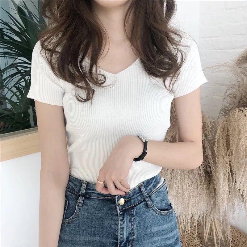 無地ニット半袖シンプル一般なし一般夏VネックプルオーバーTシャツ