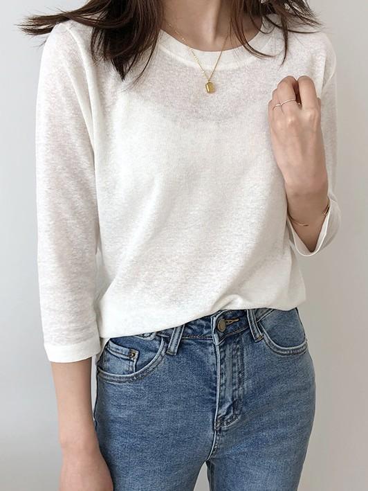 無地 七分袖 シンプル ファッション カジュアル 通勤/OL 春夏 ラウンドネック プルオーバー  Tシャツ