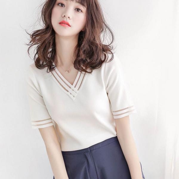 無地ニット半袖シンプル一般切り替え一般春夏Vネックプルオーバーライトグリーンホワイト20~40代Tシャツ