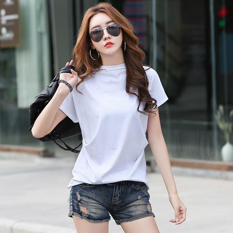 無地コットン半袖シンプル切り替え春夏ハーフネックプルオーバーピンクホワイトブラックTシャツ