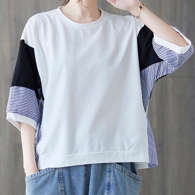 絶妙な色合い ロンt オーバーサイズ 丸首 インナー 配色 通勤/OL オフィス デザイン 体型カバー ゆったり シンプル カジュアル 夏 ラウンドネック プルオーバー 五分袖 Tシャツ
