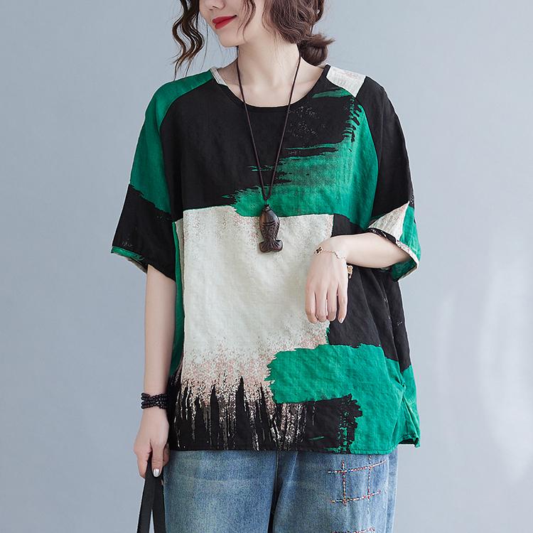 配色半袖レトロプリント春夏ラウンドネックプルオーバーTシャツ