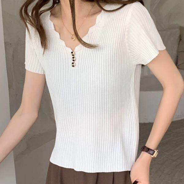 無地半袖シンプルファッションボタン春夏秋VネックプルオーバーTシャツ