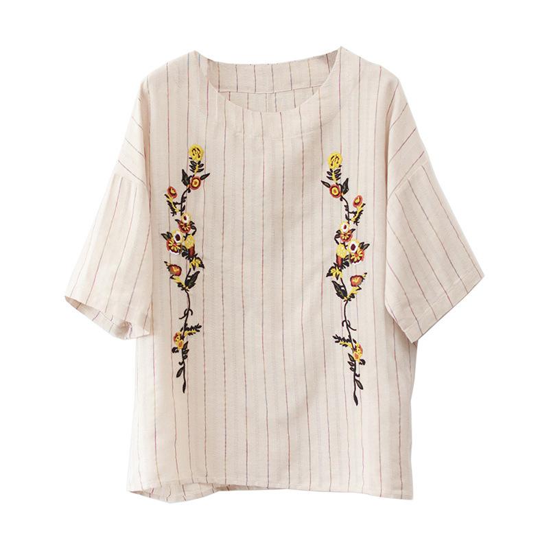 ストライプ柄半袖ファッションカジュアル刺繍夏ラウンドネックプルオーバーTシャツ