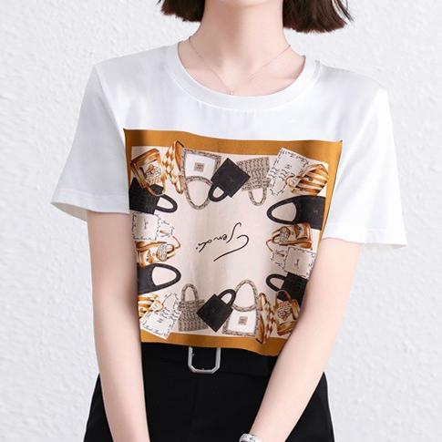プリント半袖ファッションカジュアル韓国系プリント春夏ラウンドネックプルオーバーTシャツ