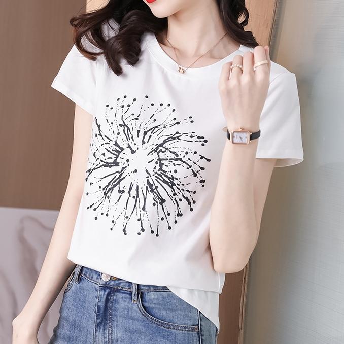 プリント半袖ファッションカジュアルプリント春夏ラウンドネックプルオーバーTシャツ
