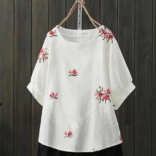 綿麻七分袖レトロ刺繍ショート丈夏ラウンドネックプルオーバーイエローパープルピンクホワイトグリーンネイビーレッド花柄Tシャツ