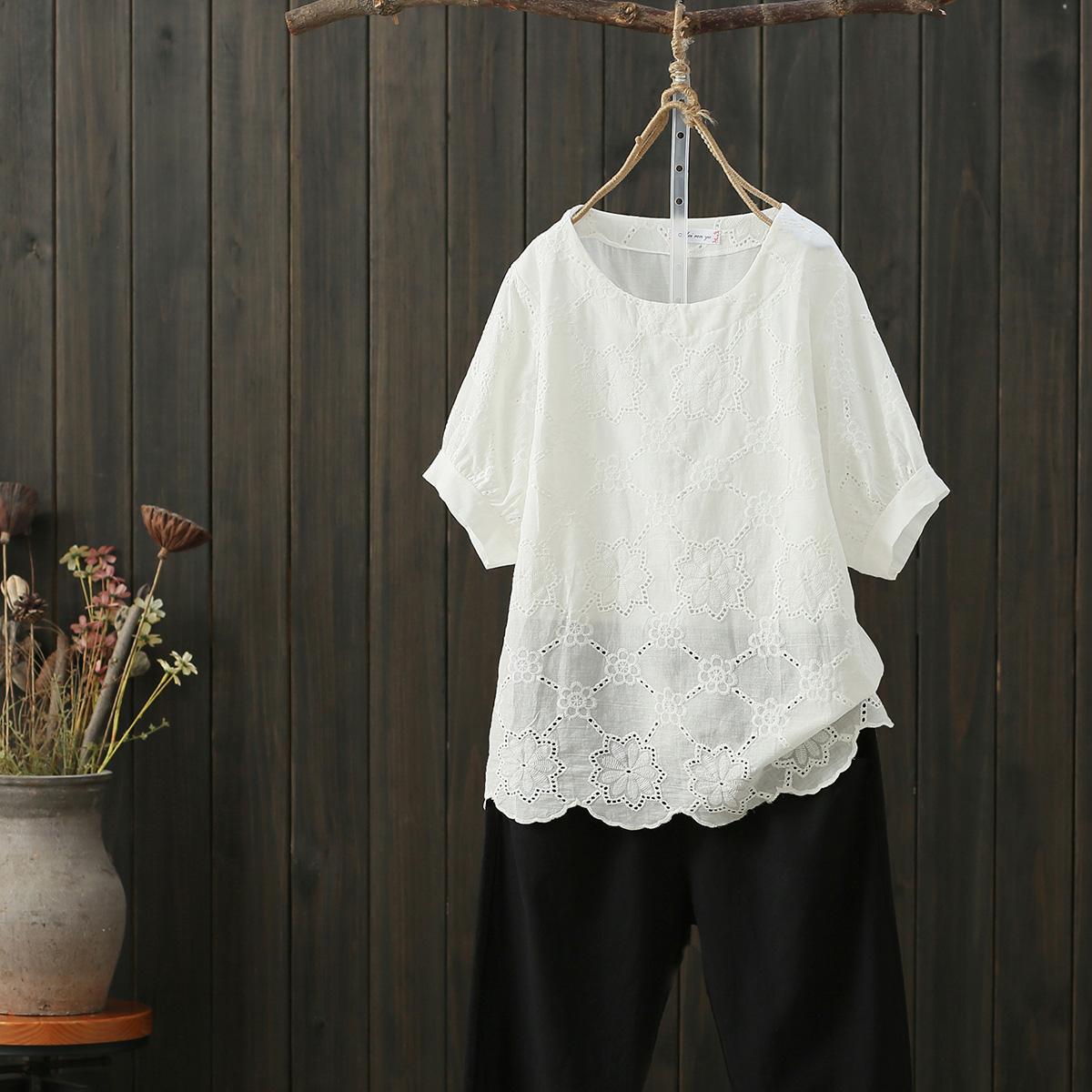 無地綿麻シンプル透かし彫り夏ラウンドネックプルオーバーイエローオレンジピンクホワイトレッド五分袖花柄Tシャツ