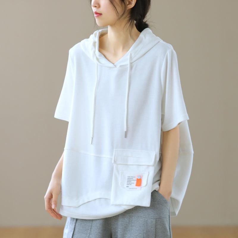 上品全3色 アルファベット カジュアル ショート丈 体型カバー ゆったり 夏 フード付き 若く見える 流行り 上質な着心地 プルオーバー 五分袖 Tシャツ