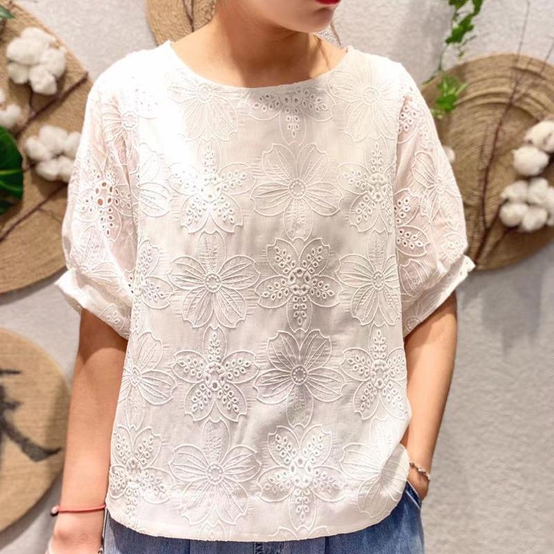 無地シンプル刺繡春夏ラウンドネックプルオーバー五分袖Tシャツ