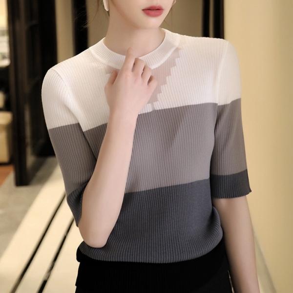配色ニットファッション切り替え春ラウンドネックプルオーバー五分袖Tシャツ