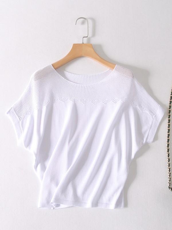 オシャレ度たっぷり 無地 通勤/OL ニット 半袖 ファッション カジュアル ドルマンスリーブ オーバーサイズ 丸首 インナー 体型カバー ゆったり 透かし彫り 春 ラウンドネック プルオーバー Tシャツ