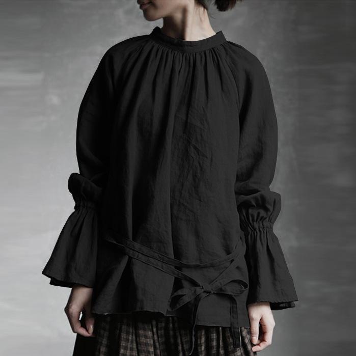 無地コットン長袖シンプルボウタイギャザー飾り春秋スタンドネックプルオーバーTシャツ