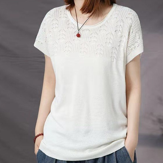 無地半袖シンプルカジュアル透かし彫りショート丈春夏ラウンドネックプルオーバーTシャツ