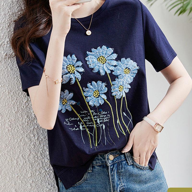 半袖シンプル切り替え膝上春夏ラウンドネックプルオーバー花柄Tシャツ