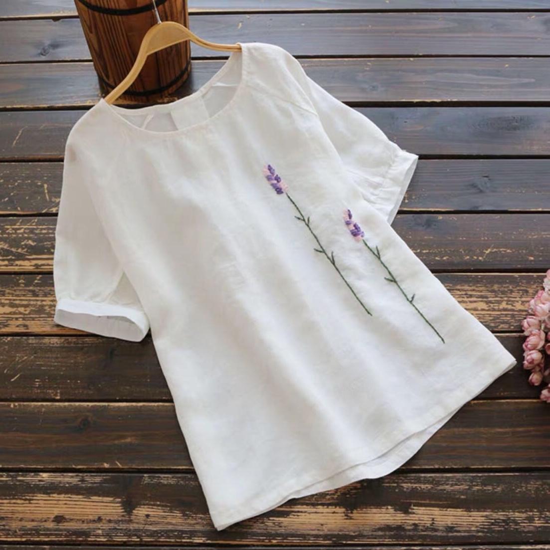 綿麻シンプルカジュアル刺繍ショート丈春夏ラウンドネックプルオーバー五分袖花柄Tシャツ