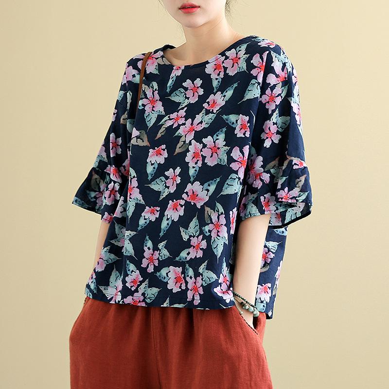 プリントファッションスピーカースリーブプリント春夏ラウンドネックプルオーバー五分袖Tシャツ
