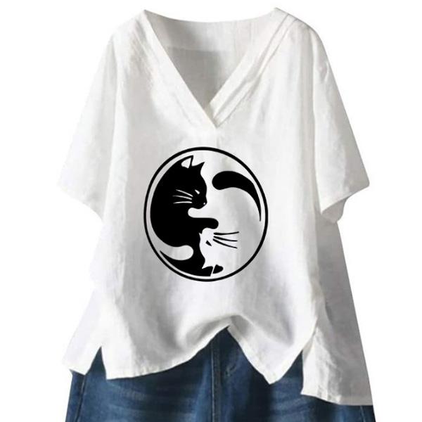 プリント半袖プラスサイズカジュアルプリントスリット夏VネックプルオーバーTシャツ