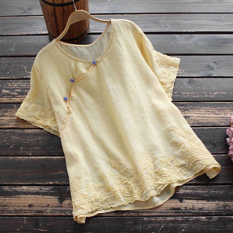 無地半袖シンプル定番刺繍ショート丈夏ラウンドネックプルオーバーTシャツ