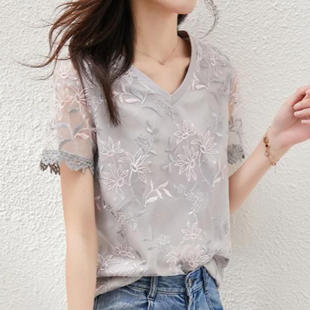 無地半袖通勤/OL韓国系エレガント刺繍切り替え夏VネックプルオーバーTシャツ