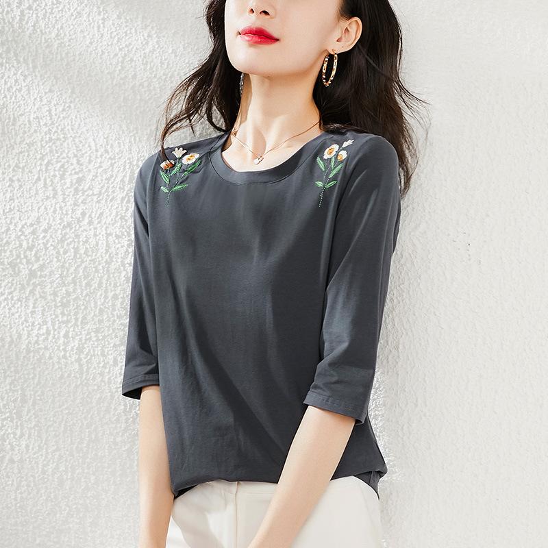 ポリエステル七分袖シンプル刺繍夏ラウンドネックプルオーバーダークグレー花柄Tシャツ