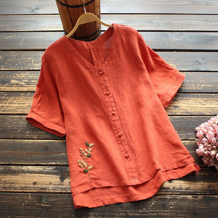 無地綿麻半袖エスニック系刺繍夏VネックシングルブレストTシャツ