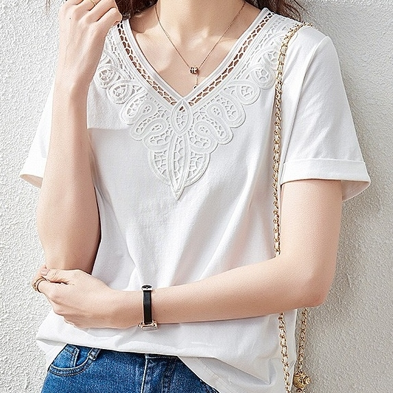 無地半袖シンプル通勤/OL韓国系透かし彫り切り替え夏VネックプルオーバーTシャツ