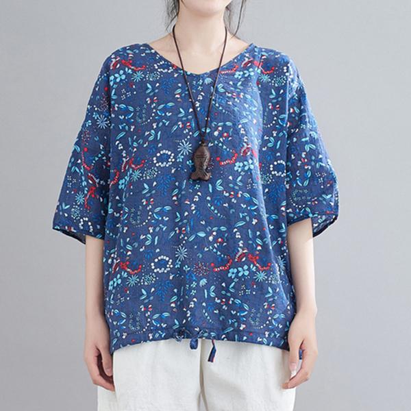 プリント半袖シンプルカジュアルレトロプリント夏ラウンドネックプルオーバーTシャツ