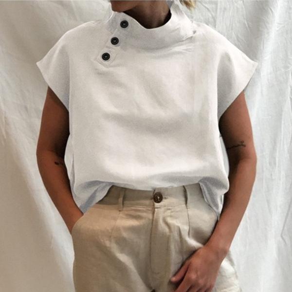 無地半袖シンプルカジュアルボタン夏スタンドネックプルオーバーTシャツ