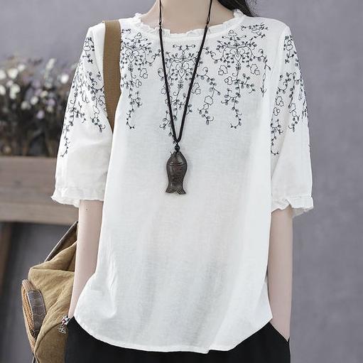 配色半袖シンプル刺繍ショート丈春夏ラウンドネックプルオーバーTシャツ